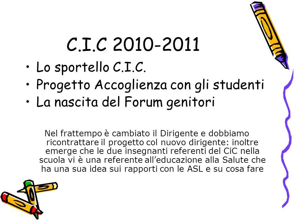 C.I.C 2010-2011 Lo sportello C.I.C. Progetto Accoglienza con gli studenti La nascita del Forum genitori Nel frattempo è cambiato il Dirigente e dobbia