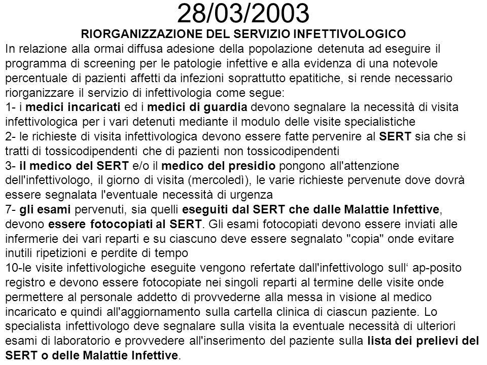 Normalizzazione 2001 - 2003 I° Contatto Glicemia; Azotemia; Creatinina; Transaminasi; Fos.Alcalina; GGT; Amilasi pancreatica; CPK; LDH; Protidogramma; Emocromo completo; Attività protrombinica; Anti HCV; VDRL; HBsAg; HBcAb; HIV Controlli successivi come da indicazione dello specialista infettivologo Soggetti negativi al I° controllo esecuzione dei markers virologici risultati negativi al I° controllo ogni 6 mesi