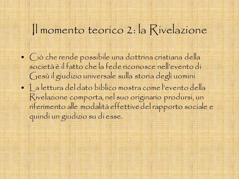 Il momento teorico 2: la Rivelazione Ciò che rende possibile una dottrina cristiana della società è il fatto che la fede riconosce nellevento di Gesù