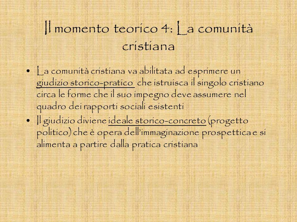 Il momento teorico 4: La comunità cristiana La comunità cristiana va abilitata ad esprimere un giudizio storico-pratico che istruisca il singolo crist