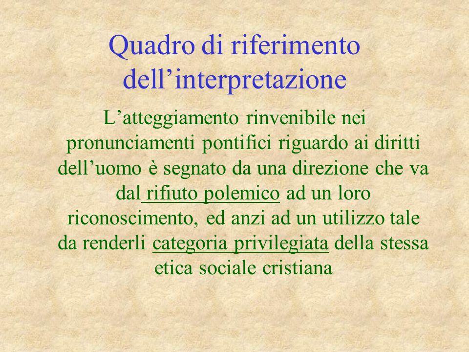 Quadro di riferimento dellinterpretazione Latteggiamento rinvenibile nei pronunciamenti pontifici riguardo ai diritti delluomo è segnato da una direzi