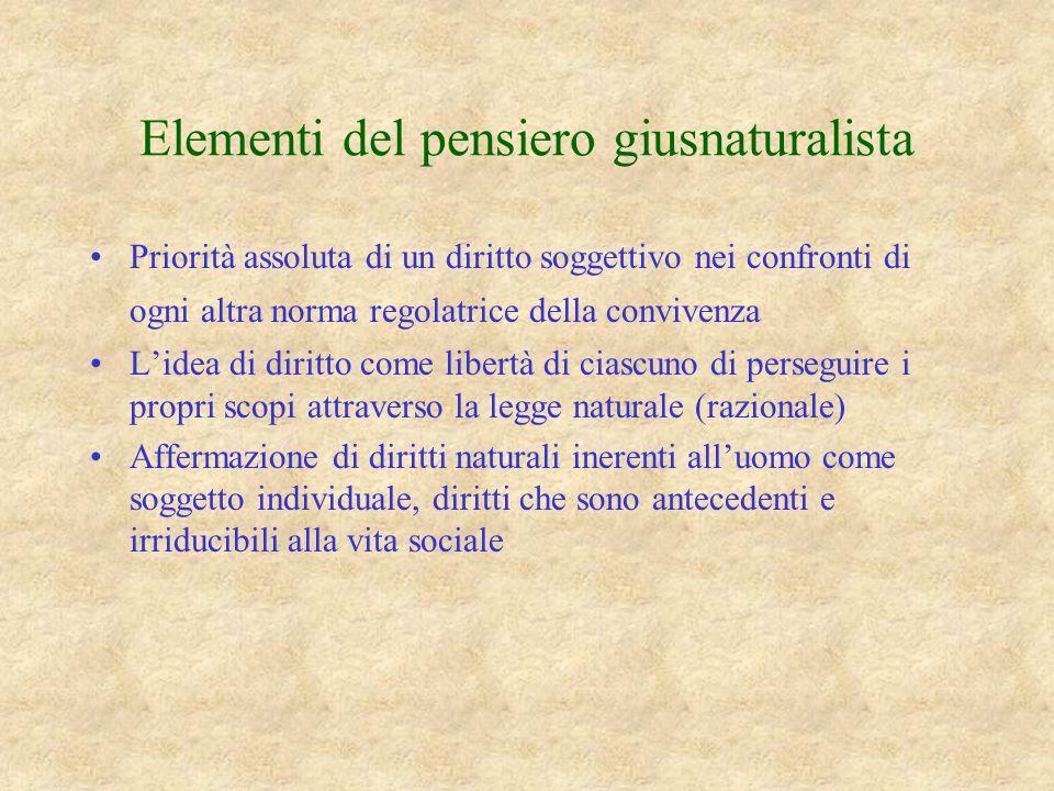 Elementi del pensiero giusnaturalista Priorità assoluta di un diritto soggettivo nei confronti di ogni altra norma regolatrice della convivenza Lidea