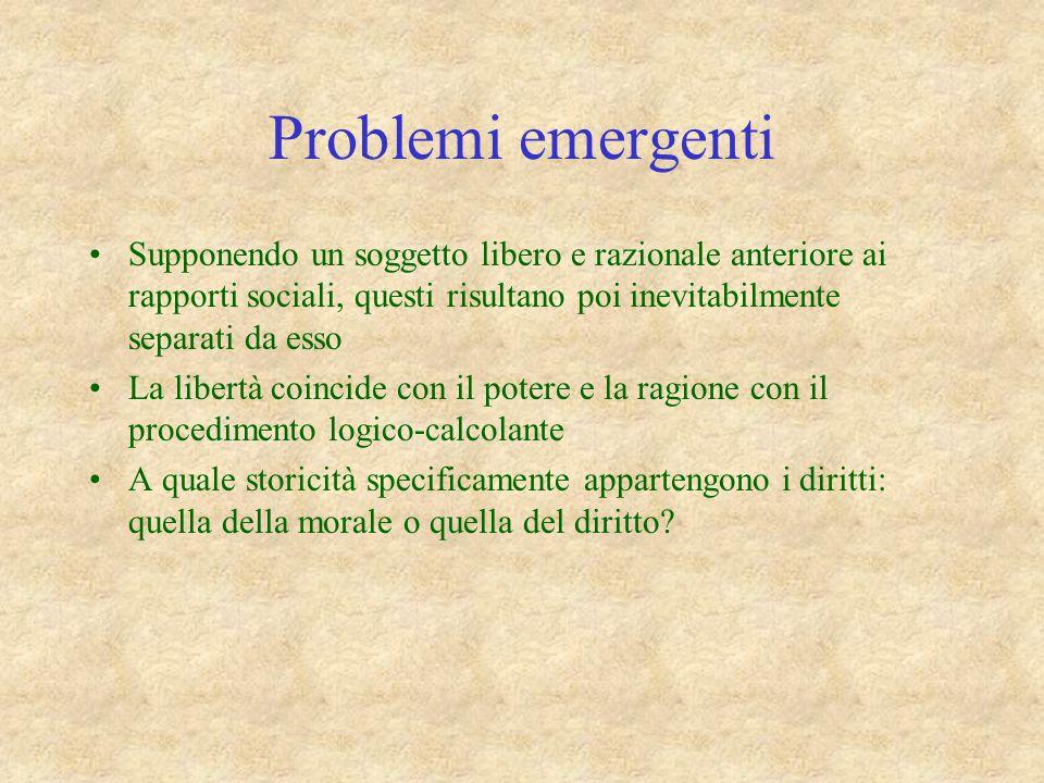 Problemi emergenti Supponendo un soggetto libero e razionale anteriore ai rapporti sociali, questi risultano poi inevitabilmente separati da esso La l