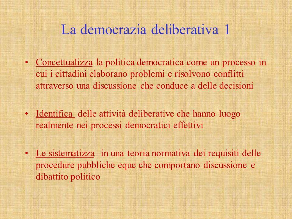 La democrazia deliberativa 2 Secondo la concezione deliberativa le leggi, le politiche e le decisioni sono legittime normativamente solo se tutti coloro che risentono dei loro effetti sono stati inclusi nella discussione da cui scaturiscono Esistono condizioni di inclusione esterne al processo di discussione ( per es.