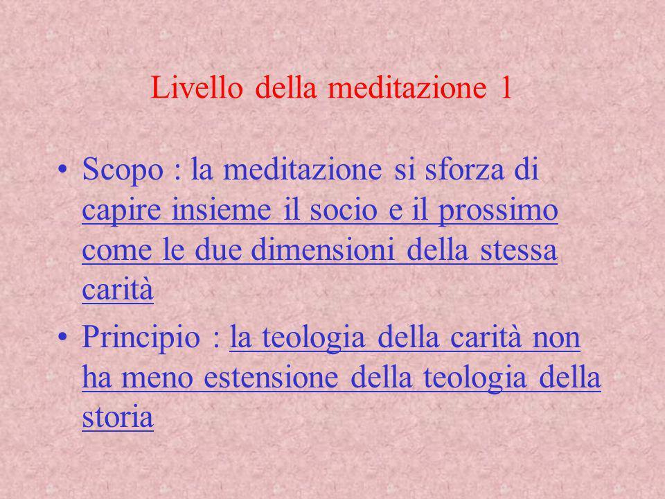 Livello della meditazione 1 Scopo : la meditazione si sforza di capire insieme il socio e il prossimo come le due dimensioni della stessa carità Princ