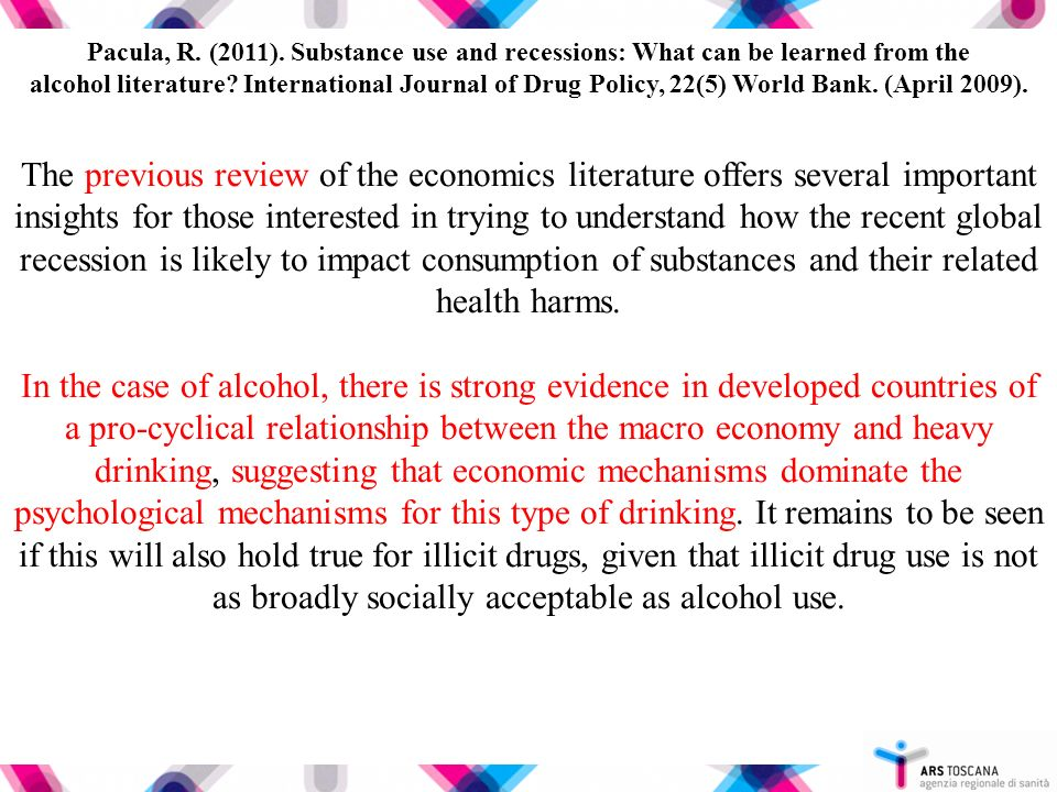 The previous review of the economics literature offers several important insights for those interested in trying to understand how the recent global recession is likely to impact consumption of substances and their related health harms.
