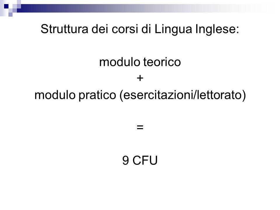 Struttura dei corsi di Lingua Inglese: modulo teorico + modulo pratico (esercitazioni/lettorato) = 9 CFU
