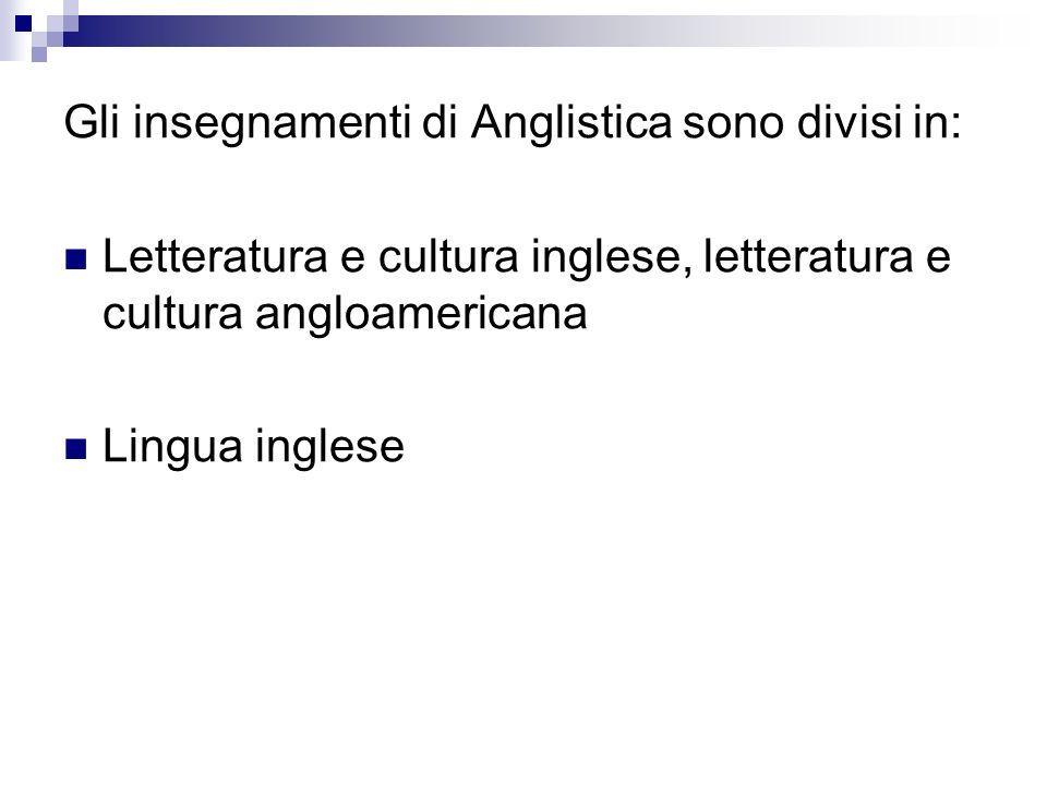 Letteratura e cultura inglese e letteratura e cultura angloamericana