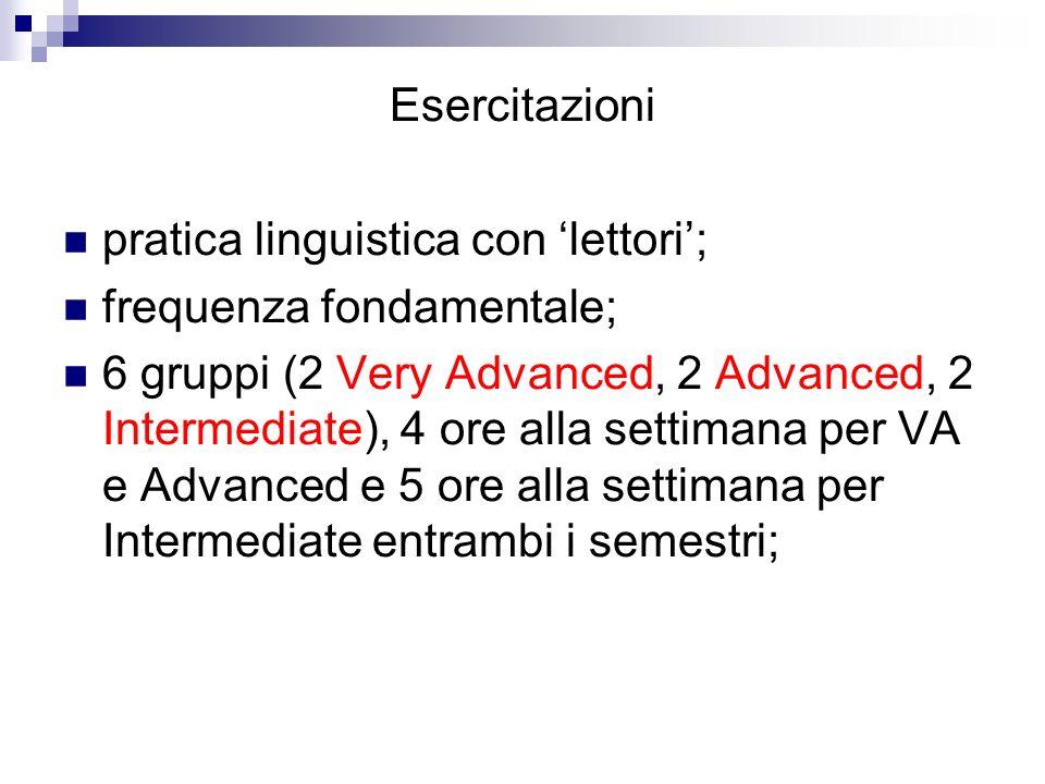 Esercitazioni pratica linguistica con lettori; frequenza fondamentale; 6 gruppi (2 Very Advanced, 2 Advanced, 2 Intermediate), 4 ore alla settimana pe