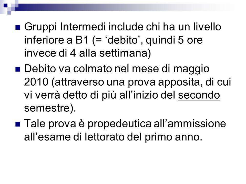 Gruppi Intermedi include chi ha un livello inferiore a B1 (= debito, quindi 5 ore invece di 4 alla settimana) Debito va colmato nel mese di maggio 201