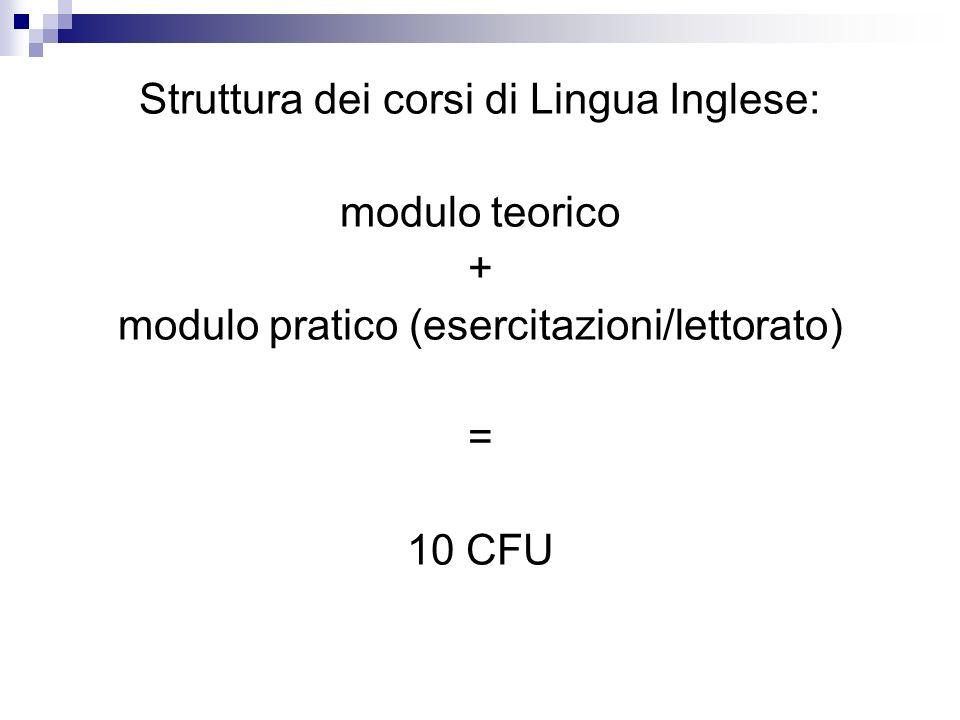 Struttura dei corsi di Lingua Inglese: modulo teorico + modulo pratico (esercitazioni/lettorato) = 10 CFU