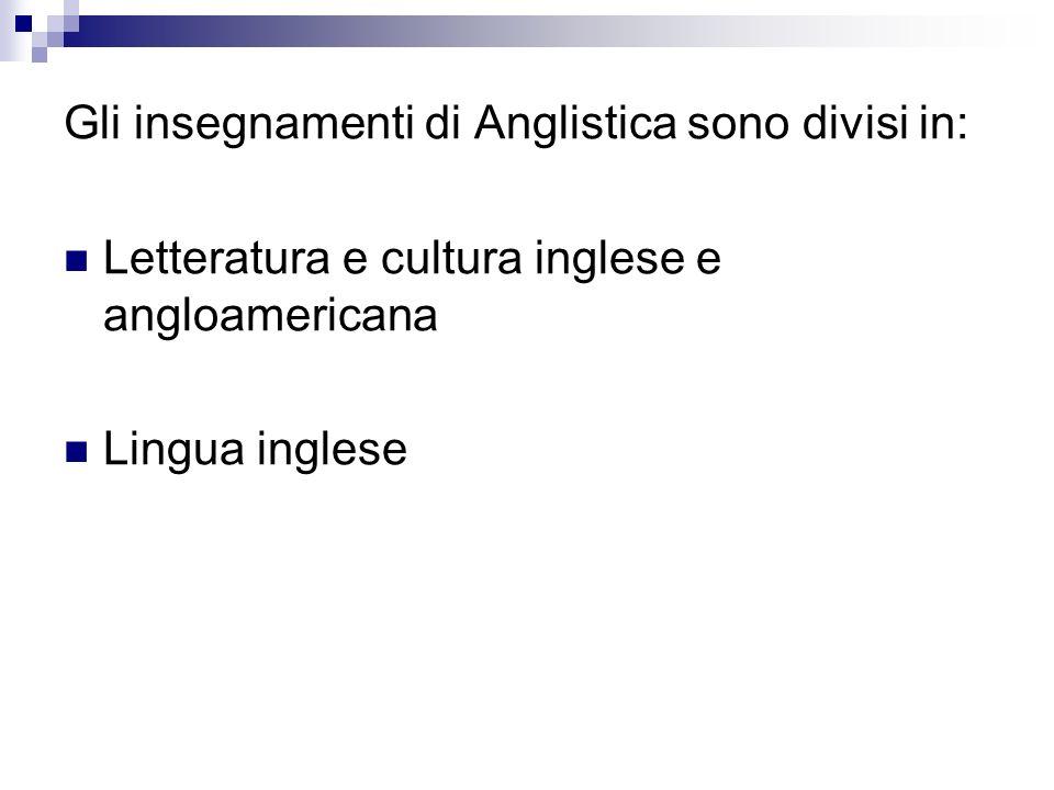 Gli insegnamenti di Anglistica sono divisi in: Letteratura e cultura inglese e angloamericana Lingua inglese