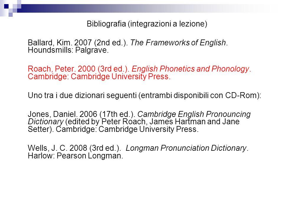 Bibliografia (integrazioni a lezione) Ballard, Kim. 2007 (2nd ed.). The Frameworks of English. Houndsmills: Palgrave. Roach, Peter. 2000 (3rd ed.). En