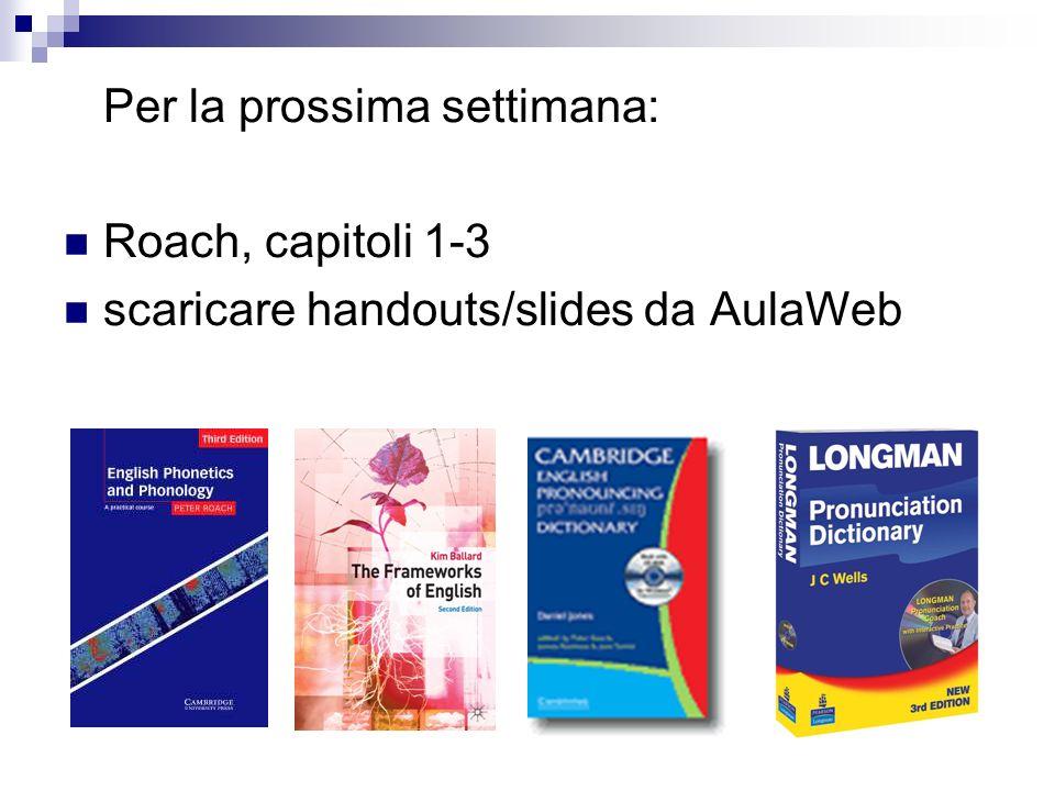 Per la prossima settimana: Roach, capitoli 1-3 scaricare handouts/slides da AulaWeb