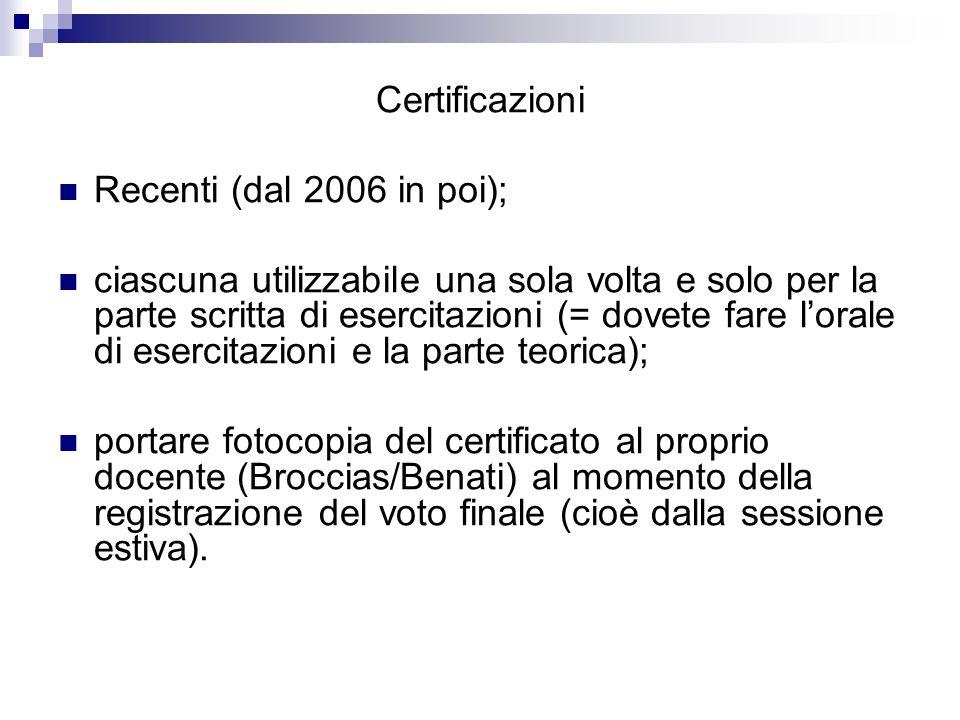 Certificazioni Recenti (dal 2006 in poi); ciascuna utilizzabile una sola volta e solo per la parte scritta di esercitazioni (= dovete fare lorale di e