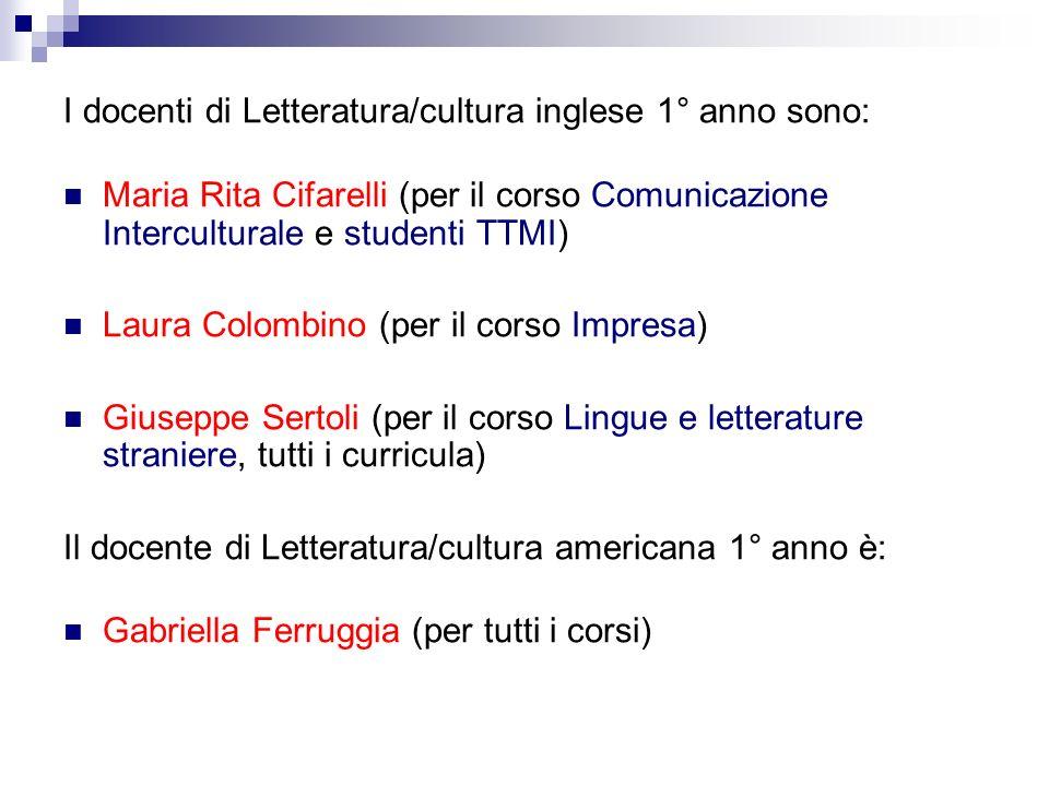 I docenti di Letteratura/cultura inglese 1° anno sono: Maria Rita Cifarelli (per il corso Comunicazione Interculturale e studenti TTMI) Laura Colombin