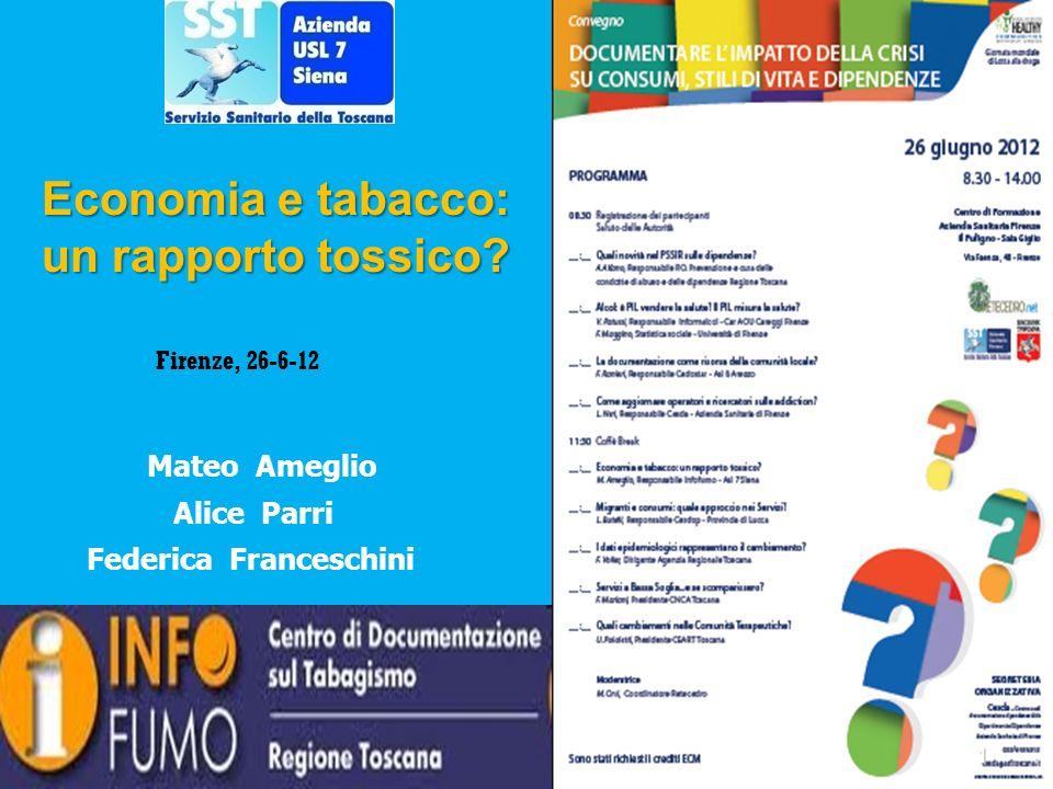 Firenze, 26-6-12 Mateo Ameglio Alice Parri Federica Franceschini 1 Economia e tabacco: un rapporto tossico?