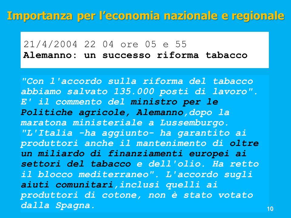 21/4/2004 22 04 ore 05 e 55 Alemanno: un successo riforma tabacco