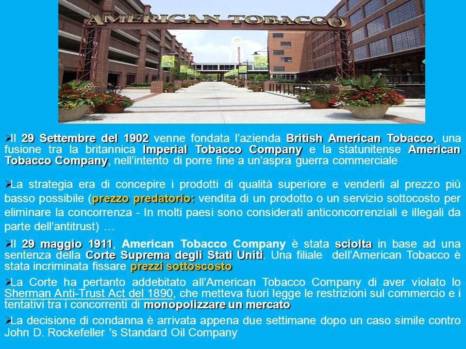 29 Settembre del 1902 British American Tobacco Imperial Tobacco Company American Tobacco Company Il 29 Settembre del 1902 venne fondata lazienda Briti