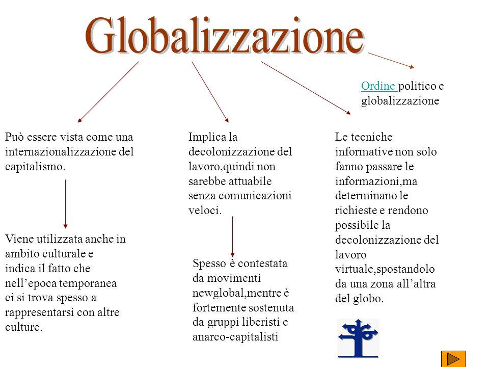 Può essere vista come una internazionalizzazione del capitalismo. Implica la decolonizzazione del lavoro,quindi non sarebbe attuabile senza comunicazi