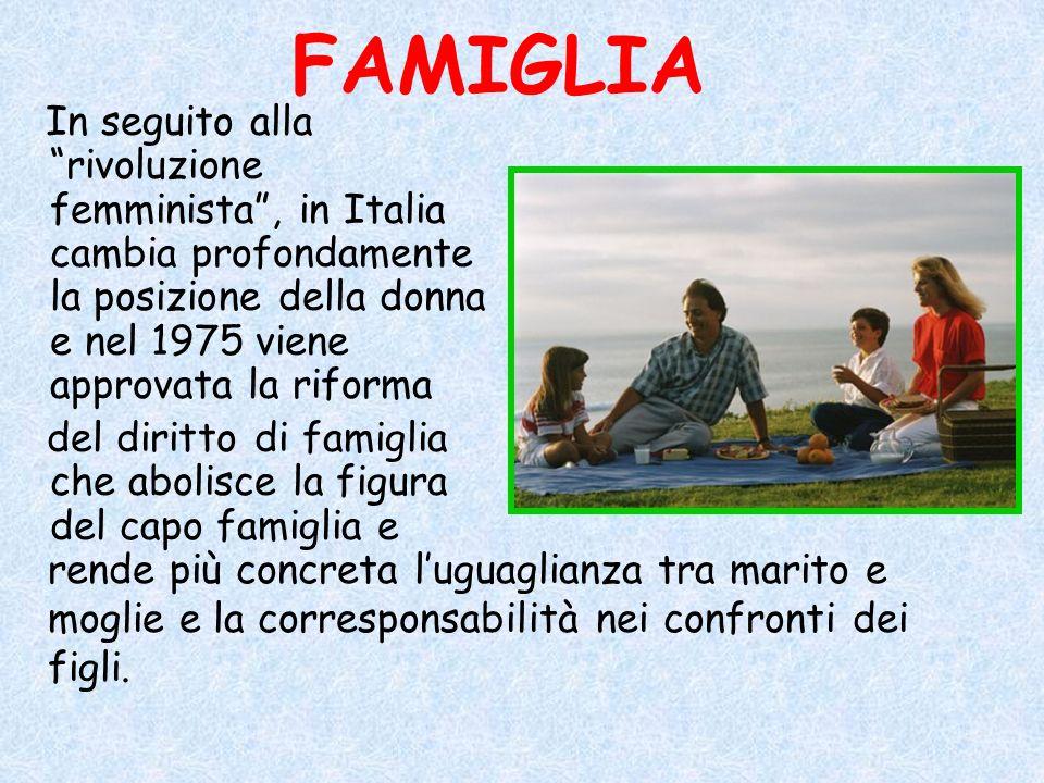 FAMIGLIA In seguito alla rivoluzione femminista, in Italia cambia profondamente la posizione della donna e nel 1975 viene approvata la riforma del dir