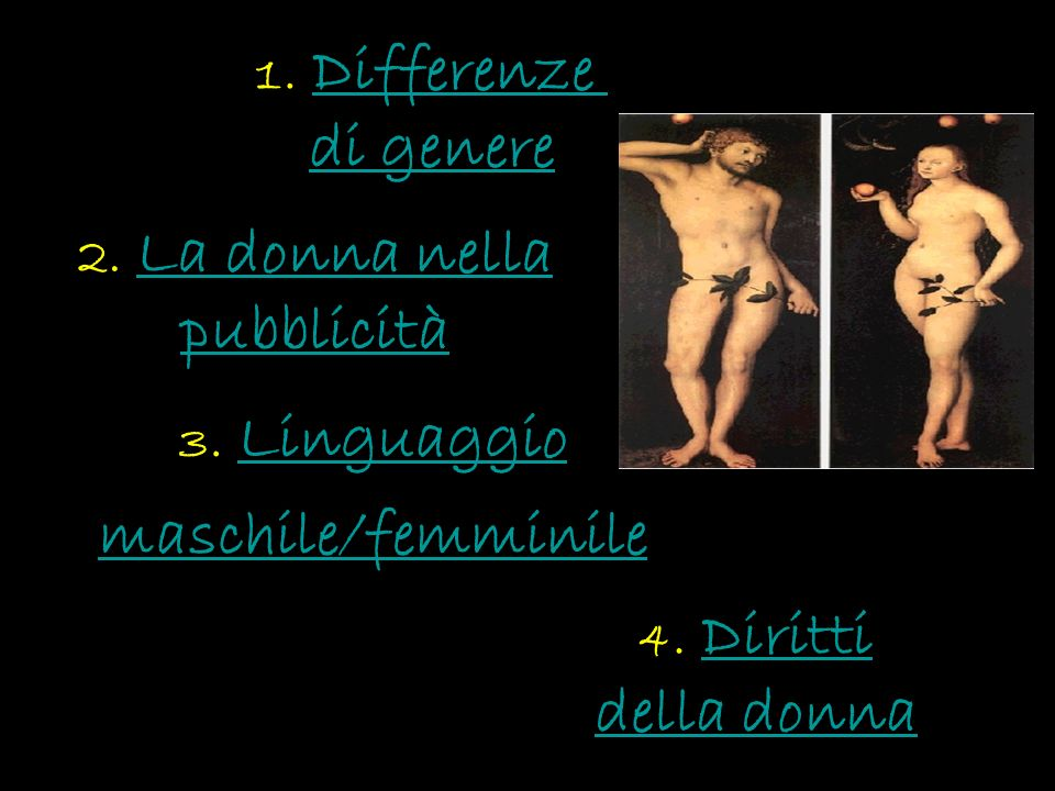 3. Linguaggio maschile/femminile 4. Diritti della donnaDiritti della donna 2. La donna nella pubblicità 1. DifferenzeDifferenze di genere