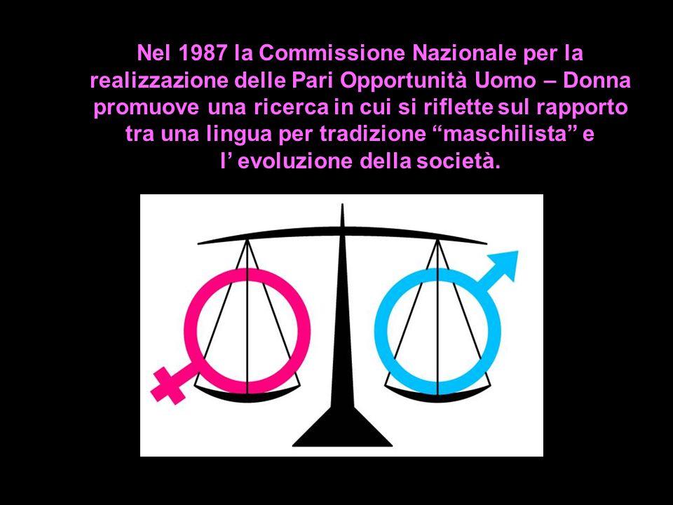 Nel 1987 la Commissione Nazionale per la realizzazione delle Pari Opportunità Uomo – Donna promuove una ricerca in cui si riflette sul rapporto tra un