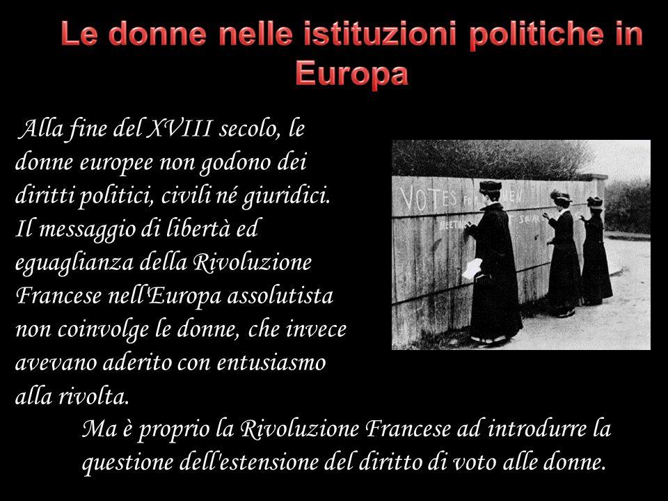 Alla fine del XVIII secolo, le donne europee non godono dei diritti politici, civili né giuridici. Il messaggio di libertà ed eguaglianza della Rivolu