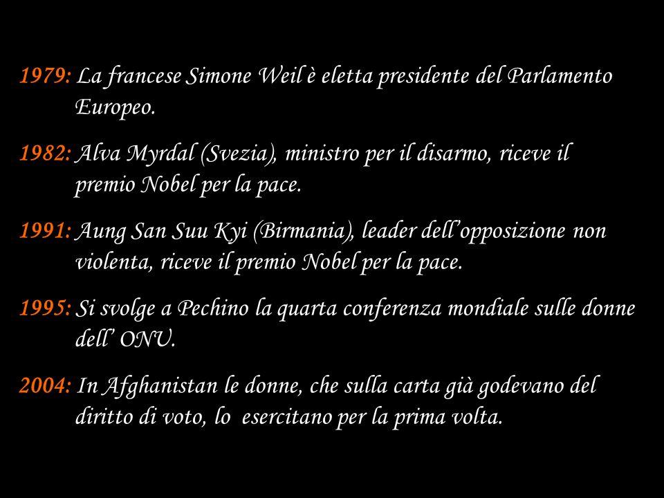 1979: La francese Simone Weil è eletta presidente del Parlamento Europeo. 1982: Alva Myrdal (Svezia), ministro per il disarmo, riceve il premio Nobel