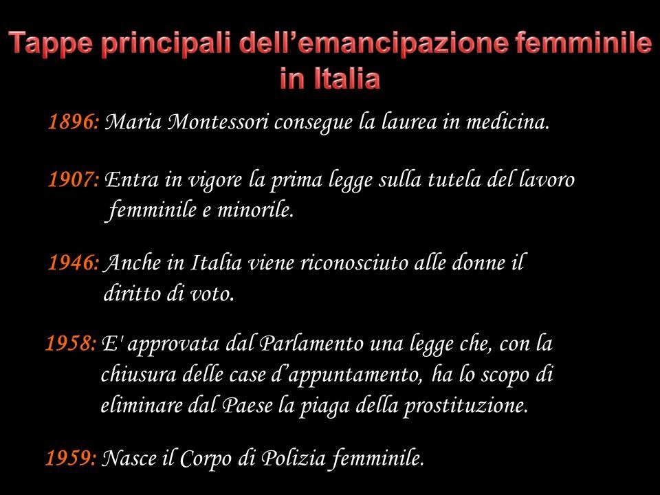1896: Maria Montessori consegue la laurea in medicina. 1907: Entra in vigore la prima legge sulla tutela del lavoro femminile e minorile. 1946: Anche