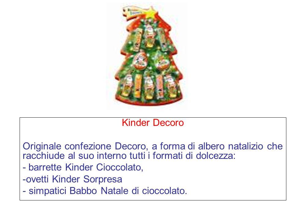 Kinder Decoro Originale confezione Decoro, a forma di albero natalizio che racchiude al suo interno tutti i formati di dolcezza: - barrette Kinder Cioccolato, -ovetti Kinder Sorpresa - simpatici Babbo Natale di cioccolato.