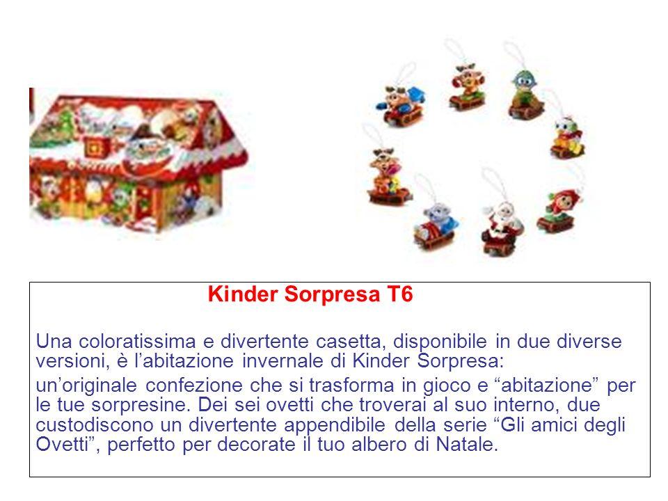 Kinder Sorpresa T6 Una coloratissima e divertente casetta, disponibile in due diverse versioni, è labitazione invernale di Kinder Sorpresa: unoriginale confezione che si trasforma in gioco e abitazione per le tue sorpresine.