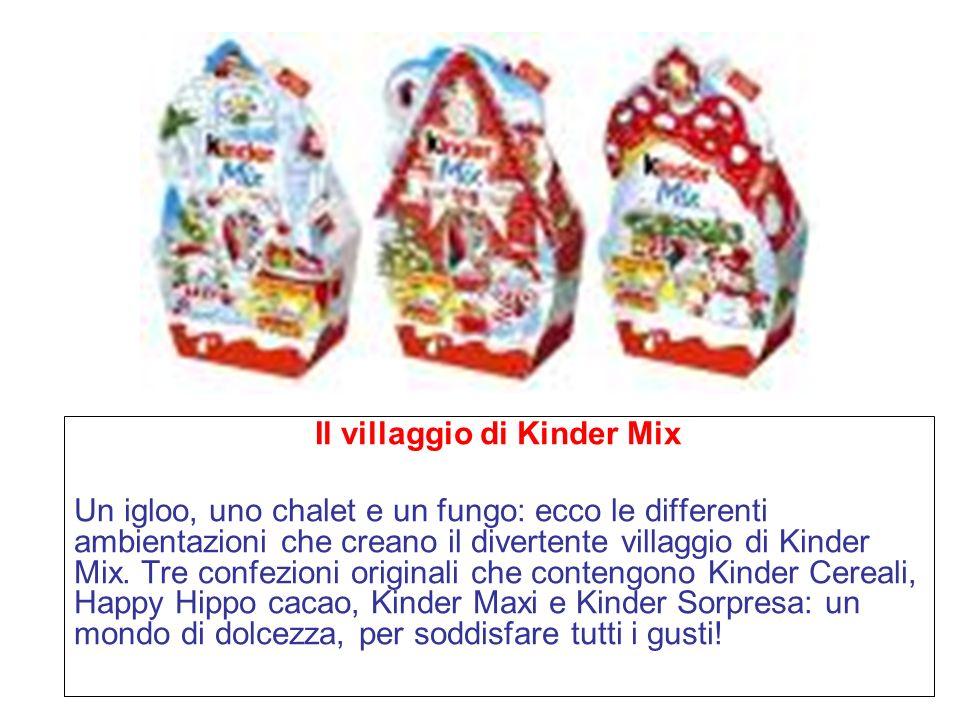 Il villaggio di Kinder Mix Un igloo, uno chalet e un fungo: ecco le differenti ambientazioni che creano il divertente villaggio di Kinder Mix.