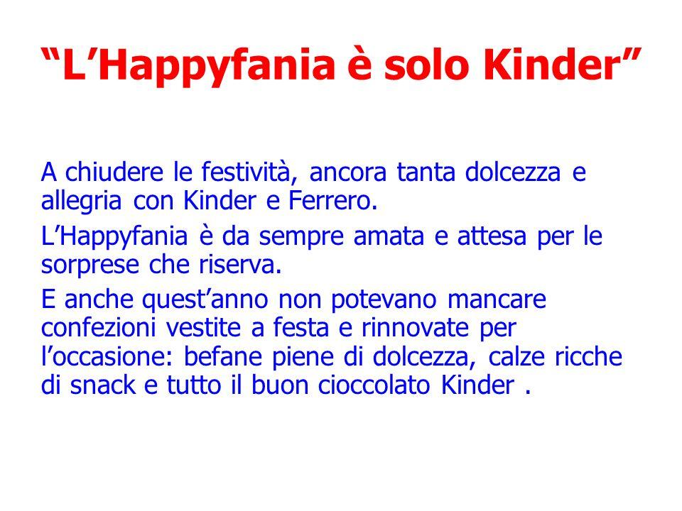 LHappyfania è solo Kinder A chiudere le festività, ancora tanta dolcezza e allegria con Kinder e Ferrero. LHappyfania è da sempre amata e attesa per l
