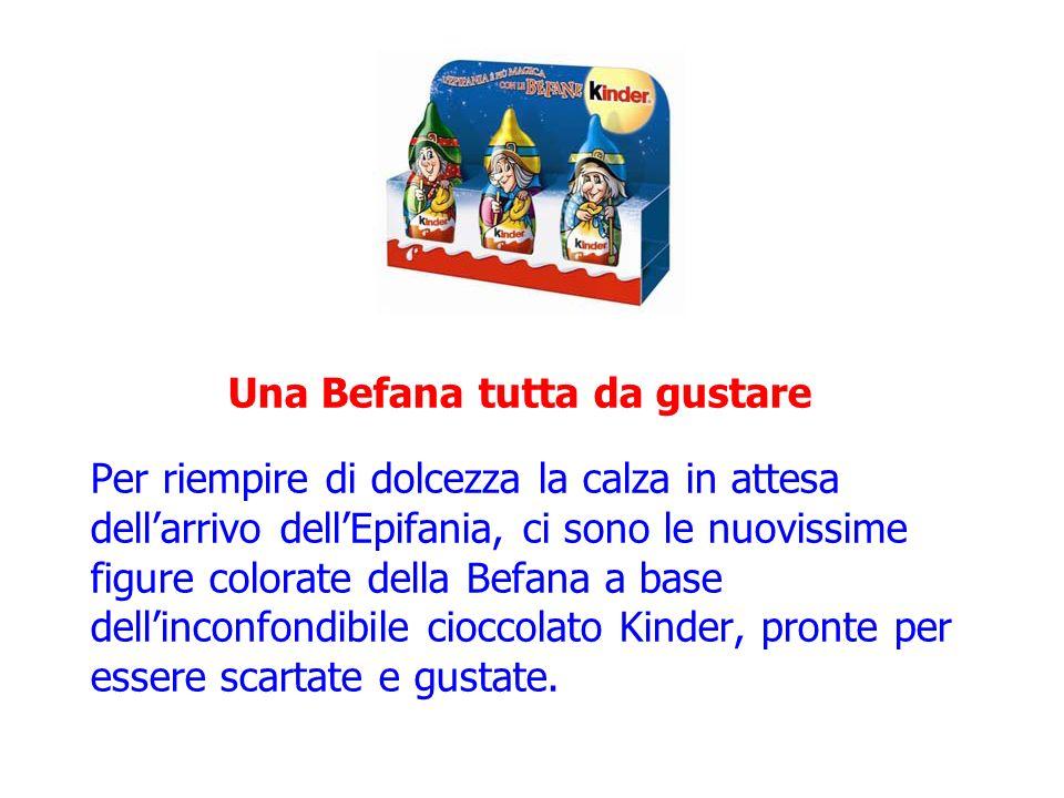 La Befana porta gli snack kinder e Ferrero La Befana ha pensato a tutti gli amanti degli snack Kinder e Ferrero e a bordo della sua scopa ha caricato un sacco di prodotti per celebrare al meglio lHappyfania!