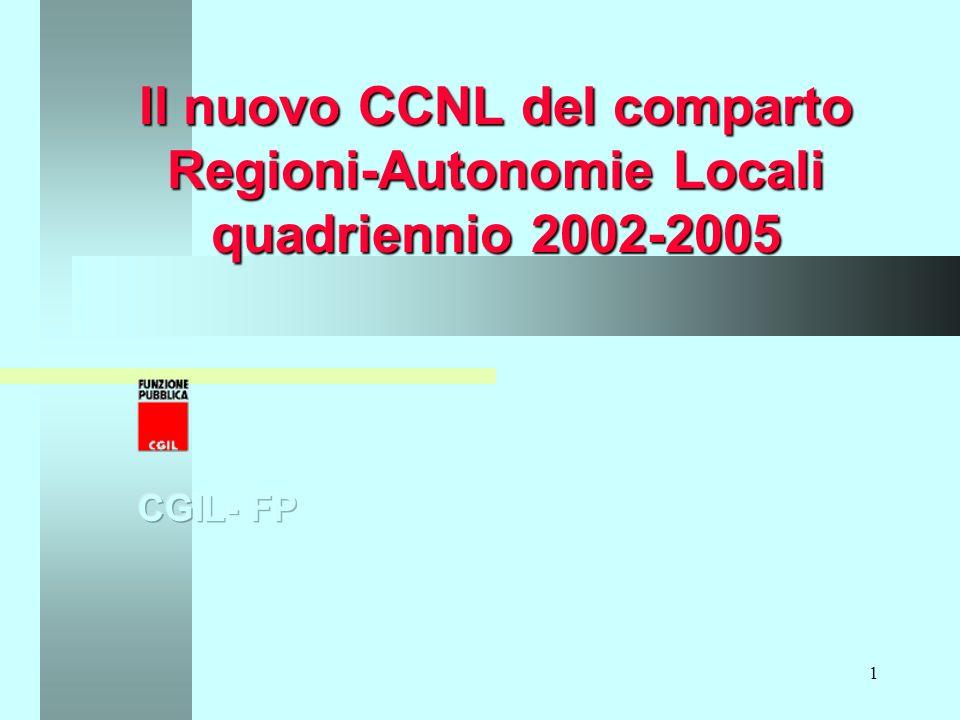 1 Il nuovo CCNL del comparto Regioni-Autonomie Locali quadriennio 2002-2005