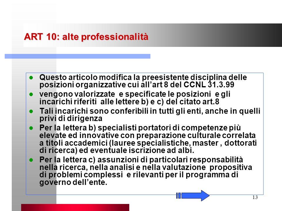 13 ART 10: alte professionalità Questo articolo modifica la preesistente disciplina delle posizioni organizzative cui allart 8 del CCNL 31.3.99 vengon
