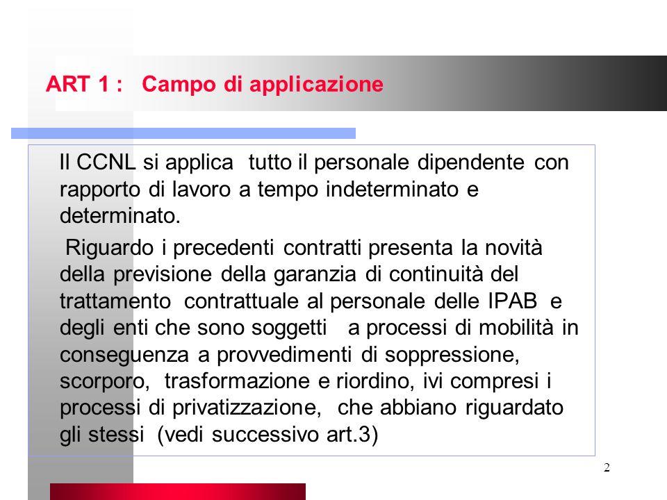 2 ART 1 : Campo di applicazione Il CCNL si applica tutto il personale dipendente con rapporto di lavoro a tempo indeterminato e determinato. Riguardo