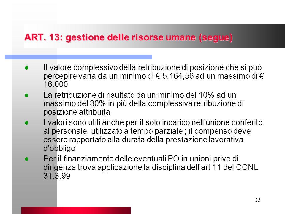 23 ART. 13: gestione delle risorse umane (segue) Il valore complessivo della retribuzione di posizione che si può percepire varia da un minimo di 5.16