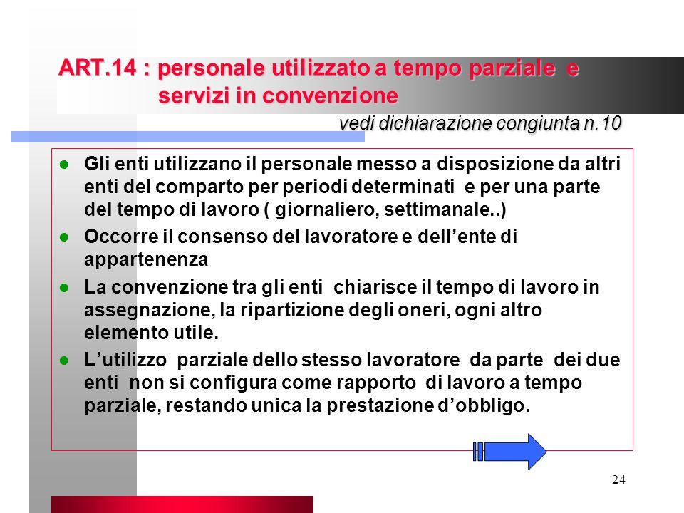 24 ART.14 : personale utilizzato a tempo parziale e servizi in convenzione vedi dichiarazione congiunta n.10 Gli enti utilizzano il personale messo a