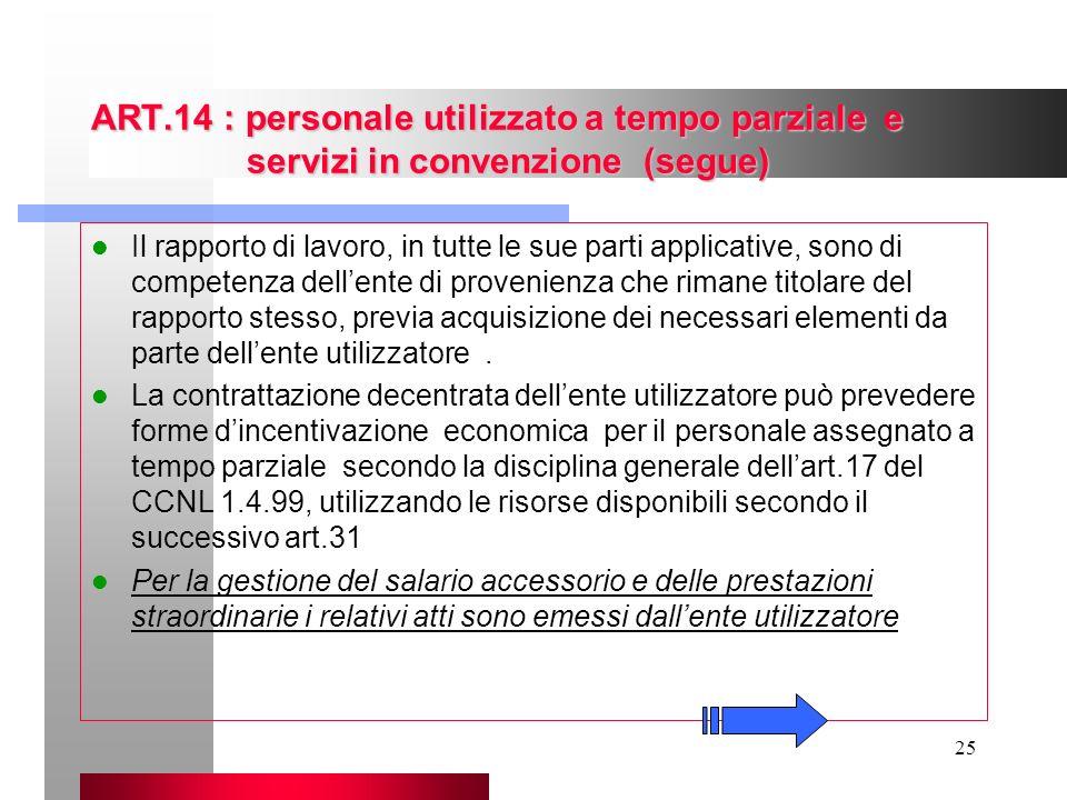 25 ART.14 : personale utilizzato a tempo parziale e servizi in convenzione (segue) Il rapporto di lavoro, in tutte le sue parti applicative, sono di c