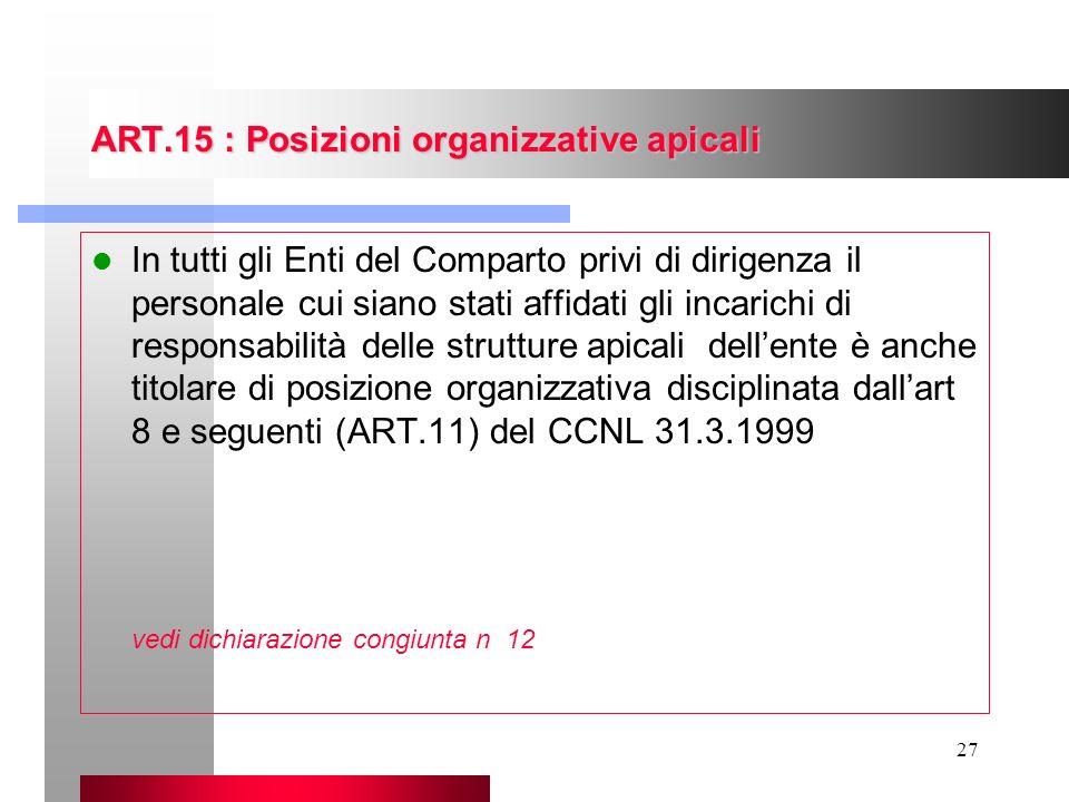 27 ART.15 : Posizioni organizzative apicali In tutti gli Enti del Comparto privi di dirigenza il personale cui siano stati affidati gli incarichi di r