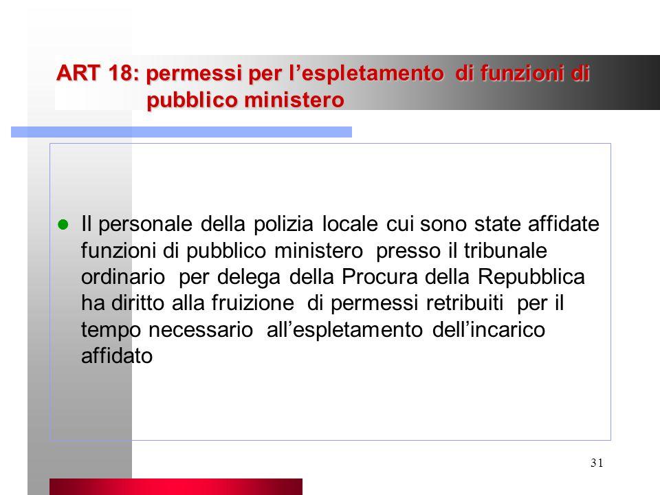 31 ART 18: permessi per lespletamento di funzioni di pubblico ministero Il personale della polizia locale cui sono state affidate funzioni di pubblico