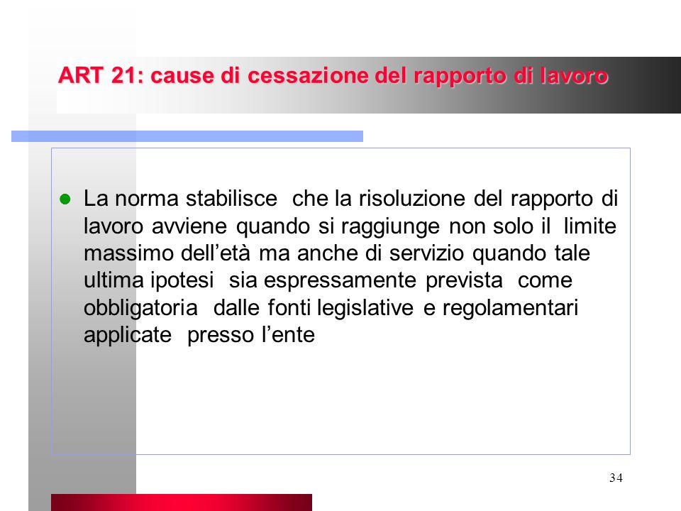 34 ART 21: cause di cessazione del rapporto di lavoro La norma stabilisce che la risoluzione del rapporto di lavoro avviene quando si raggiunge non so