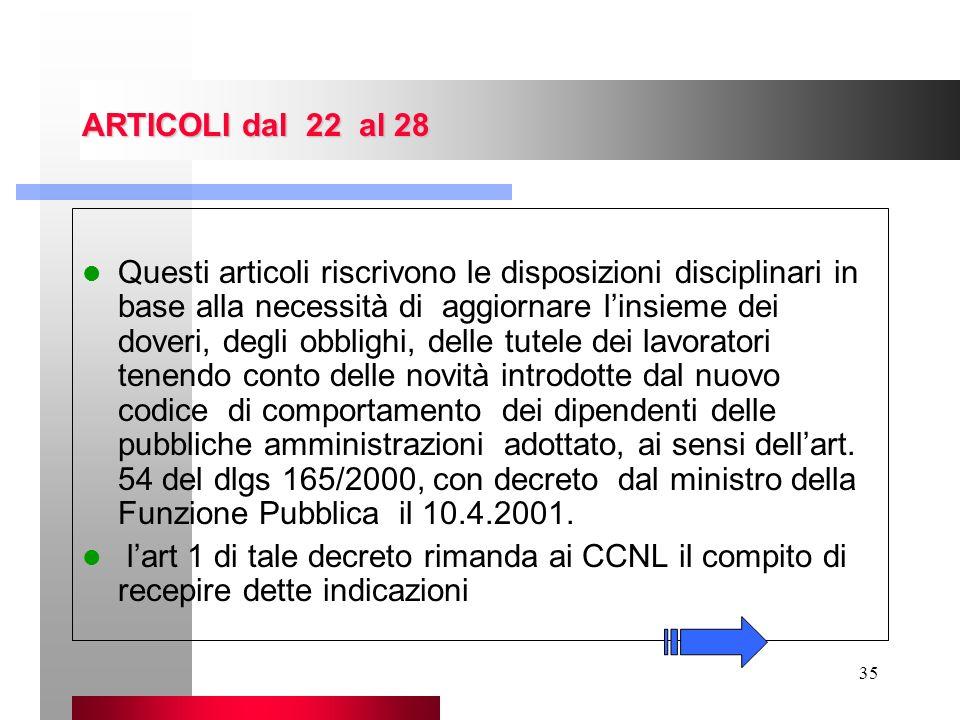 35 ARTICOLI dal 22 al 28 Questi articoli riscrivono le disposizioni disciplinari in base alla necessità di aggiornare linsieme dei doveri, degli obbli