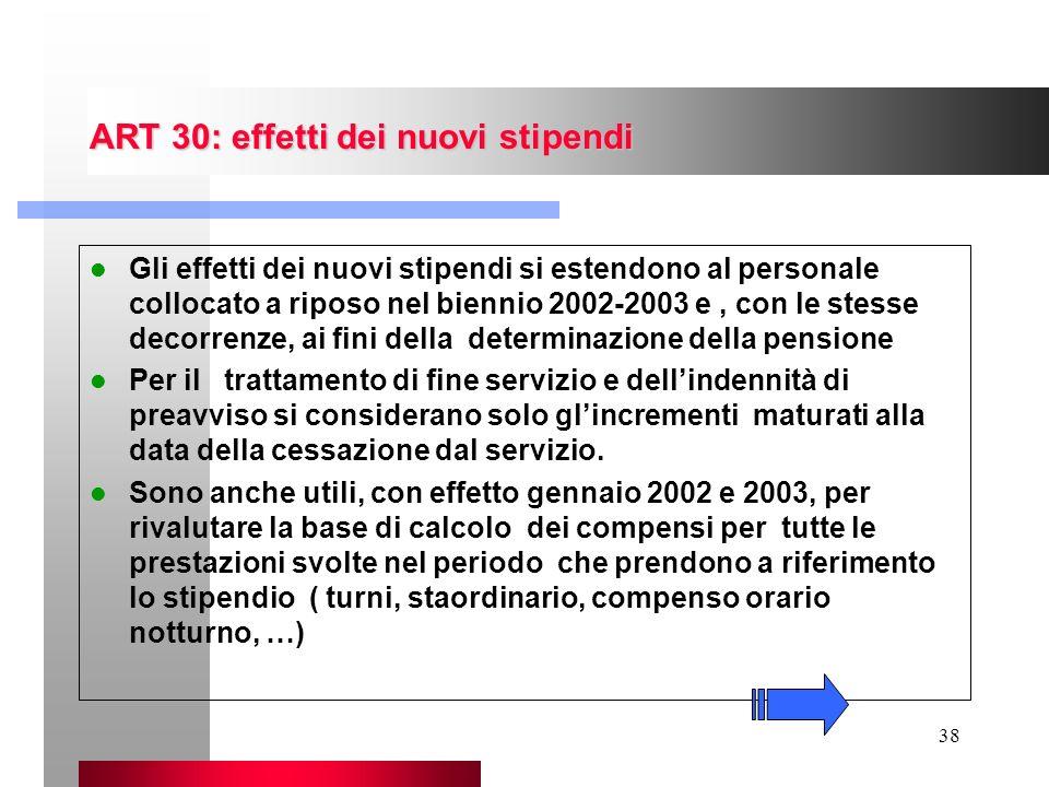 38 ART 30: effetti dei nuovi stipendi Gli effetti dei nuovi stipendi si estendono al personale collocato a riposo nel biennio 2002-2003 e, con le stes