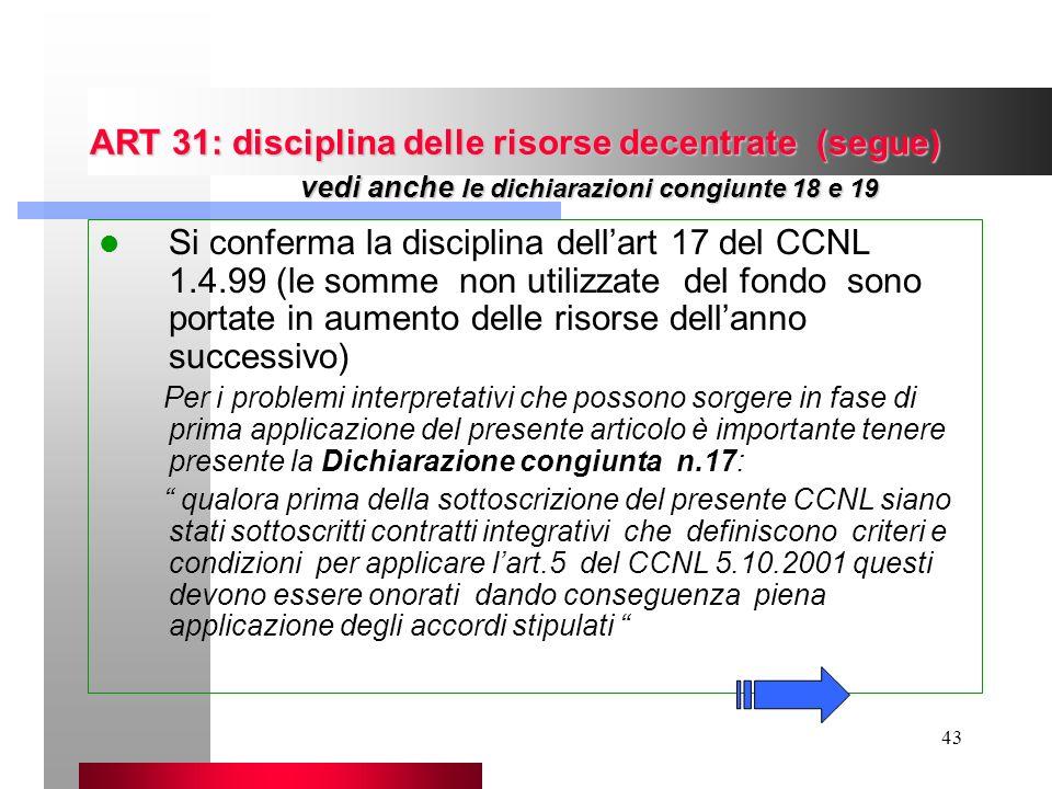 43 ART 31: disciplina delle risorse decentrate (segue) vedi anche le dichiarazioni congiunte 18 e 19 Si conferma la disciplina dellart 17 del CCNL 1.4
