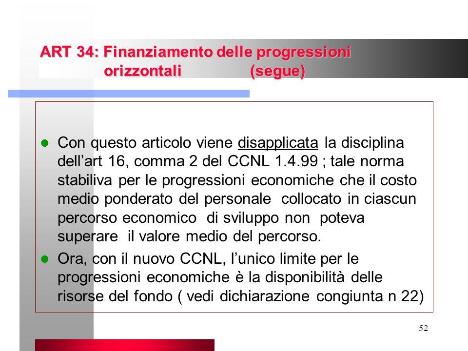 52 ART 34: Finanziamento delle progressioni orizzontali (segue) Con questo articolo viene disapplicata la disciplina dellart 16, comma 2 del CCNL 1.4.
