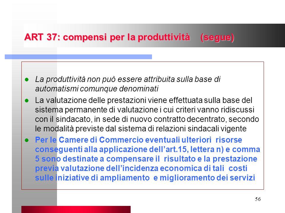 56 ART 37: compensi per la produttività (segue) La produttività non può essere attribuita sulla base di automatismi comunque denominati La valutazione