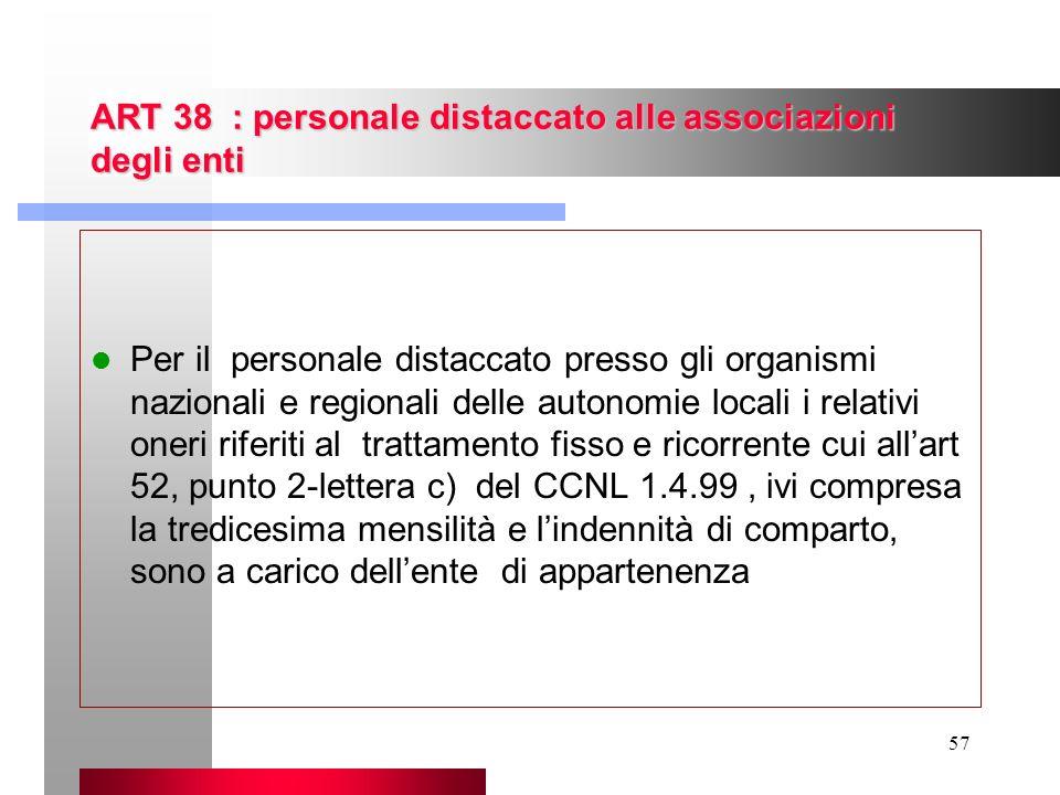 57 ART 38 : personale distaccato alle associazioni degli enti Per il personale distaccato presso gli organismi nazionali e regionali delle autonomie l